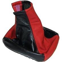 Aerzetix - Funda Palanca de Cambio Piel 100% Cuero Rojo/Negro Para Seat Leon 1 1999-2005