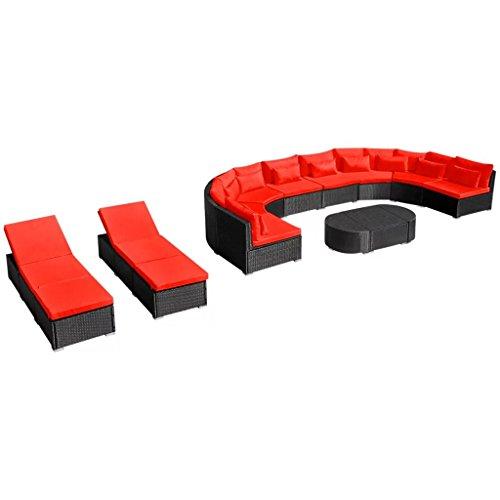 Festnight Bains de Soleil Mobilier de Jardin avec chaises Longues Rouge 8 canapé 3 Table Basse 2 chaises Longues