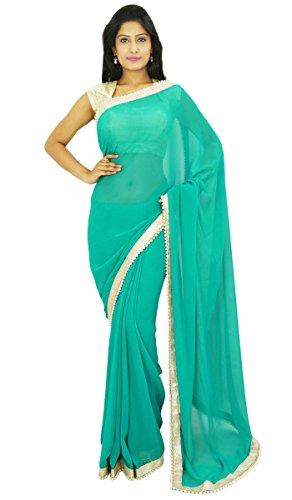 indischen traditionellen Sari Partei zu tragen Designer-Hochzeits Georgette Sari Geschenk für sie (Tragen Indische Sari)