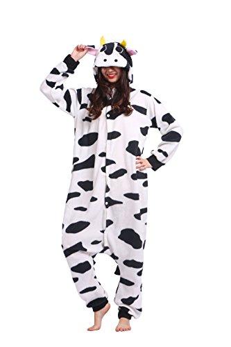 urumi Pyjamas Cartoon Tiere Erwachsene Strampelanzug Anime Hoodie Cosplay Nachtwäsche Kühe M (Kuh Strampelanzug Erwachsene)