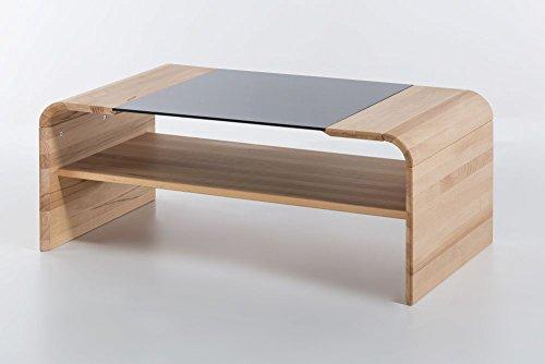 Wood Live Couchtisch Xenia mit Glasplatte schwarz 110x60x45cm in verschiedenen Holzarten Kernbuche massiv geölt