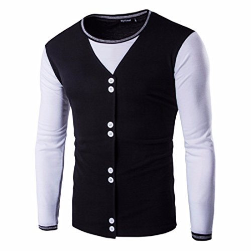 Men's Slim Fit Long Sleeve O Neck Single Casual Sweatshirt Black White