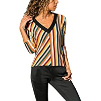 LILICAT✈ Cuello en V Manga Corta Camiseta de impresión para Mujer Casual con Cuello en V Manga Larga a Rayas Bloque de Color Jersey Suelto Top Blusa S-3XL