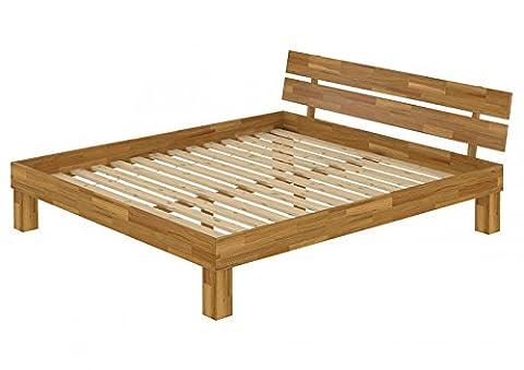 Doppelbett Französisches Bett 140x200 Futonbett Massivholzbett Eiche Rollrost 60.88-14