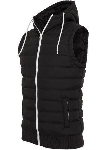 URBAN CLASSICS-Felpa da uomo con cappuccio-gilet-gilet trapuntato-Giacca invernale da ottico donna con cappuccio nero/bianco XL