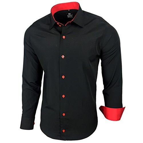 Kontrast Business Anzug Freizeit Polo Slim Fit Figurbetont Hemd Langarmhemd R-44, Farbe:Schwarz / Rot;Größe:XL (Kragen-größe Hemd)