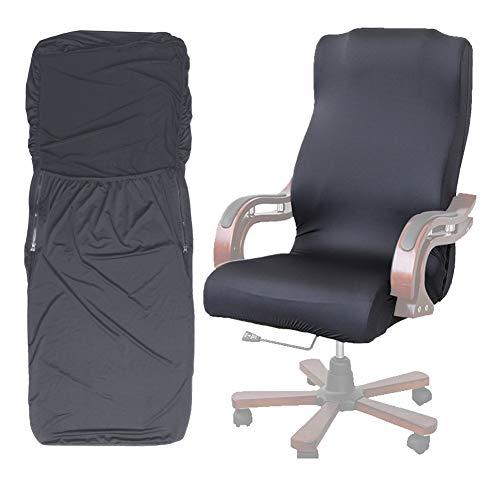 ANSUG Computer Büro Sitzbezug, Modern Style Stretch Rotierenden Stuhl Schutz Abnehmbare Waschbar Sessel Schonbezug (Grau L)