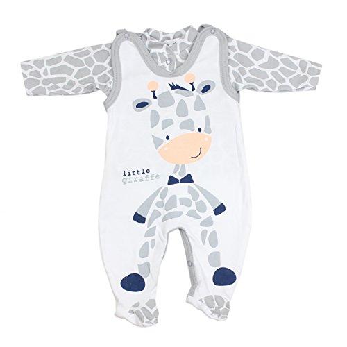 Baby Strampler mit Spruch I love Mum and Dad oder mit Aufdruck 2-tlg. Stramplerset mit Oberteil, Farbe: Giraffe, Größe: 56