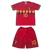 Ensemblede sport maillot et short enfant de la Belgique- jolie impression du Numéro 10 et du Pays.- Short court à taille élastique100% polyesterTaille de 4 à 14 ans