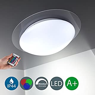 LED Deckenleuchte I dimmbarer Deckenstrahler mit RGB Funktion I 16 bunte Farben I inkl. 12 W Leuchtmittel und IR-Fernbedienung I weiße Deckenlampe aus Metall und Kunststoff I Bad-Lampe I IP44