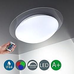B.K.Licht Lámpara de techo para dormitorio I Foco LED para techo I Regulable con 16 tonos seleccionables I Mando a distancia I Color de la luz blanco cálido I Metal y plástico I Blanca I IP44 I 12 W