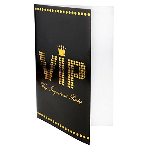 PARTY DISCOUNT NEU Karte VIP, 11 x 17 cm, schwarz, 10 Stück (Hollywood Motto Kostüm Kinder)