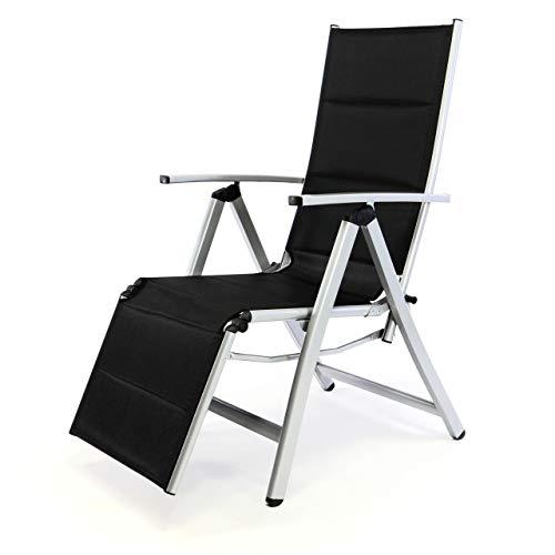 Nexos Deluxe Alu Liegestuhl Klappstuhl mit Fußstütze Sonnenliege Campingliege Gartenliege verstellbar