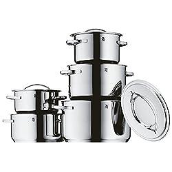 WMF Gala Plus Topfset, 5-teilig, mit Metalldeckel, Kochtopf, Cromargan Edelstahl poliert, induktionsgeeignet, spülmaschinengeeignet