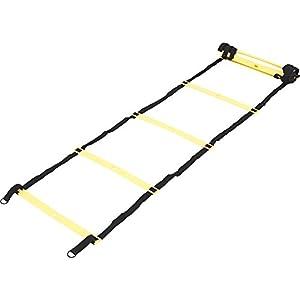 GORILLA SPORTS® Koordinationsleiter klappbar mit 12 Verstellbaren Sproßen – Trainingsleiter 4,7m Einreihig / 3,8 m Zweireihig