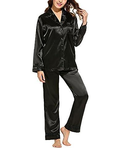 HOTOUCH Femme Ensemble Pyjama en Satin Manches Longues Dentelle Bordé Poche Grande Taille Noir XL