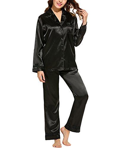 HOTOUCH Damen Pyjamas Sets Schlafanzug Nachtwäsche Nachthemd aus Seide (Lockere Passform Schlaf-hose)