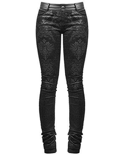 Punk Rave Vittoriano Damasco Jeans Pantaloni Skinny Pantaloni Neri Gotica Steampunk VINTAGE, Nero, S - Formato delle Donne 40