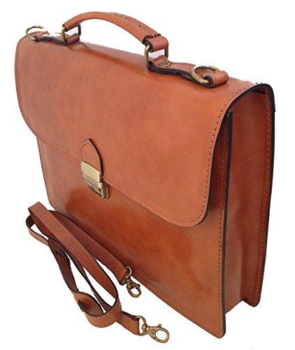 Unisex Business-Tasche, Aktentasche aus echtem Leder hergestellt in Italien MainApps Cuoio