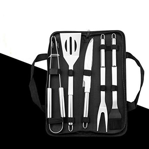 JYL BBQ Edelstahl Outdoor Grill Werkzeugkombination, Grill Essential Set, Kombination Back Tuch Tasche 5 Stück