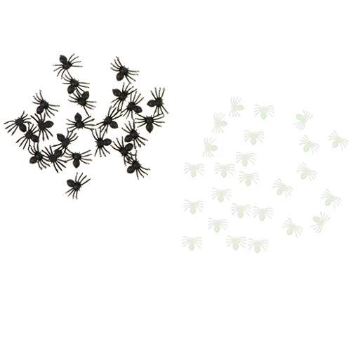 (F Fityle 50er/ Set Mini Lebensechte Insekten Spinnen Spielzeug aus Kunststoff für Halloween Streich Tricks)