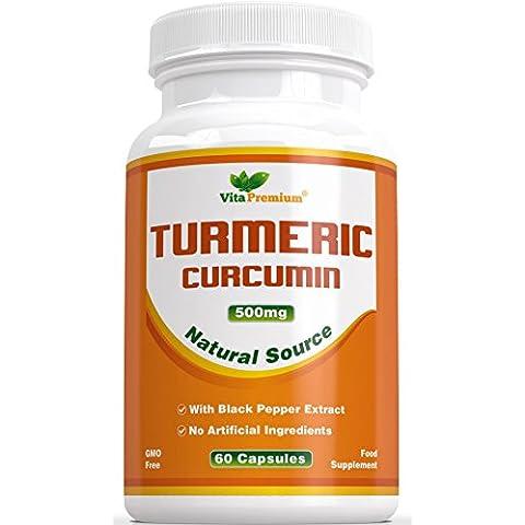 Cúrcuma Curcumina con Extracto de Pimienta Negra - 100% GARANTÍA DE DEVOLUCIÓN DEL DINERO - 60 Cápsulas Vegetarianas en Polvo, Poderoso Antiinflamatorioy Antioxidantes - Potencia la Salud de las Articulaciones, Ayuda a Reducir el Dolor y la Inflamación - Si No Siente la Diferencia, le Devolveremos el