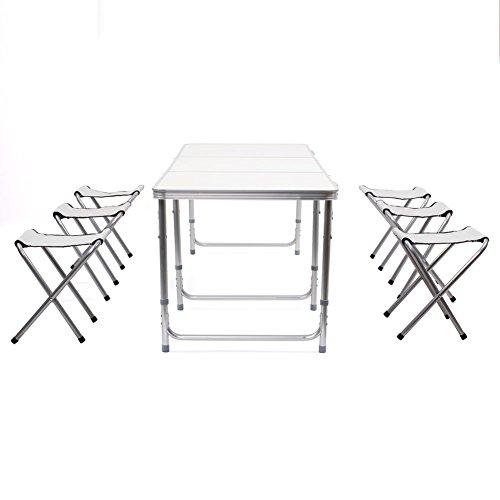 Homfa tavolo pieghevole di gardino da campeggio, tavolino bianco picnic familiari con 6 sedie, set richiudibile a valigetta per spiaggia terrazzo viaggio, altezza regolabile 55-70cm (1.8m bianco + 6 sedie)
