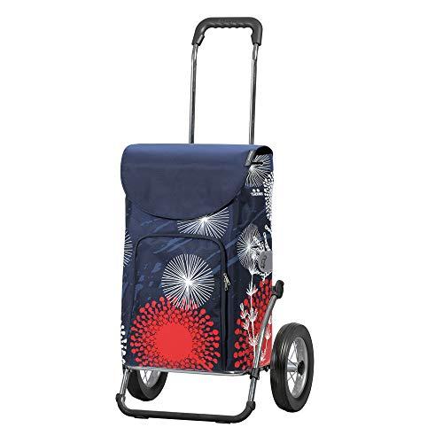 Andersen Einkaufstrolley Royal Stahlgestell klappbar mit Metallspeichenrad 25 cm und 41 Liter Einkaufstasche Lily mit Kühlfach blau/rot/weiß