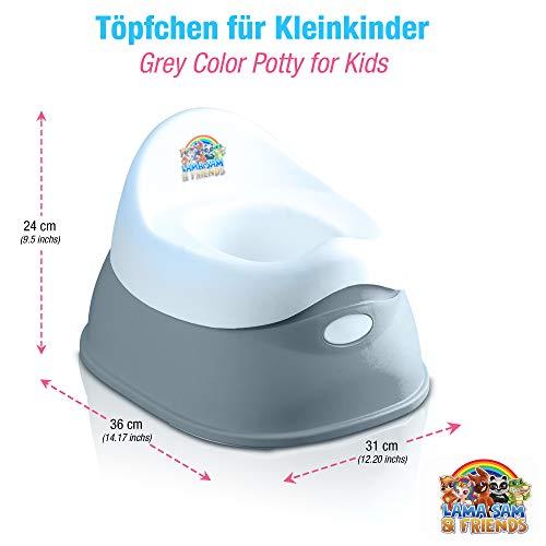 Lama Sam & Friends - vasino per bambini in 2 parti - Vasino da circa 18 mesi a circa 3 anni, funzione antiscivolo (Grigio)