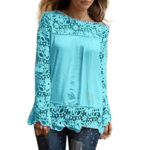 ESAILQ Mode Damen Langarm Shirt Casual Spitze Bluse Lose Baumwolle (5XL, Hellblau-1)