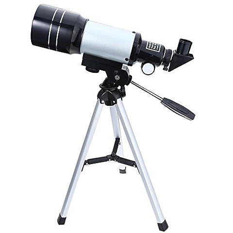 150X Portable Terrestre Astronomique Réfracteur, 300x70mm Télescope avec Trépied et