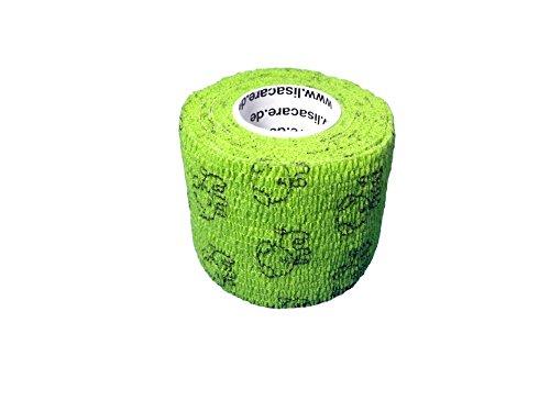 LisaCare Kohäsive Bandage 2er-Set - selbsthaftend, elastisch, 5cm breit für Mensch & Tier - Fixierbinde für Sport Arbeit Reiten - Hund grün -