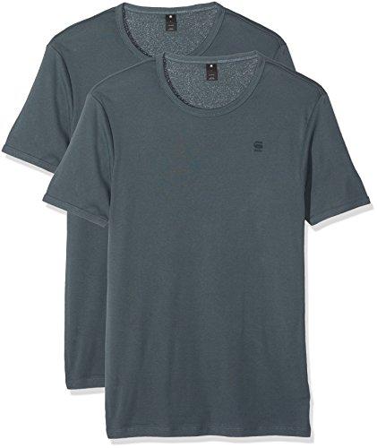 G-STAR Herren T-Shirt Base R T S/s 2-pack Blau (Dk Slate 5162)
