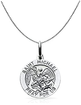 Saint Michael Mens Medaillon Runde religiöse Anhänger Sterling Silber Halskette 18 Zoll