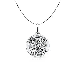 Bling Jewelry Mens Argent Médaille Saint Michel 18en collier pendentif rond