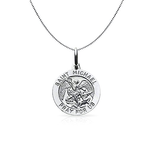 Bling Jewelry Mens Silver Saint Michael Medal Round Pendant 18in Necklace