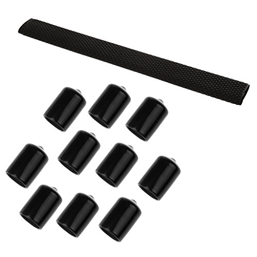 MagiDeal Non Slip Billiard Cue Grips Pool Cue Handle Sleeve With 10 Pieces Pool Cue Head Rubber Case - Black