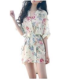 HNJZX Kimono Mujer Bata Corto Sexy Mujer Suave,Cómodo,Sedoso y Agradable