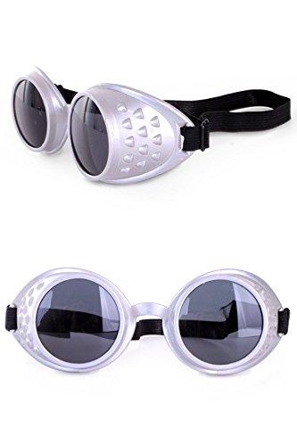 shoperama Steampunk Brille - Goggles Silber Schweißerbrille Kostüm-Accessoire Burning ()