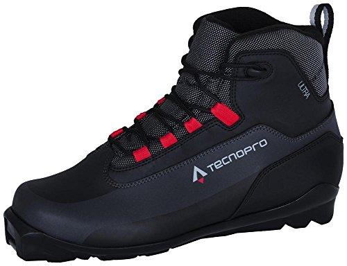 TECNOPRO Homme Cross Country Shoe Ultra Les Chaussures de Ski de Fond, Noir/Gris/Rouge, 5.5