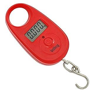 Kuizhiren1 Mini-Digitalwaage, 25 kg, tragbar, mit Hintergrundbeleuchtung rot