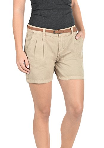 DESIRES Jacy Damen Chino Shorts Bermuda Kurze Hose Aus 100% Baumwolle Mit Gürtel Regular Fit, Größe:34, Farbe:Simple Taupe - Damen Cargo Shorts