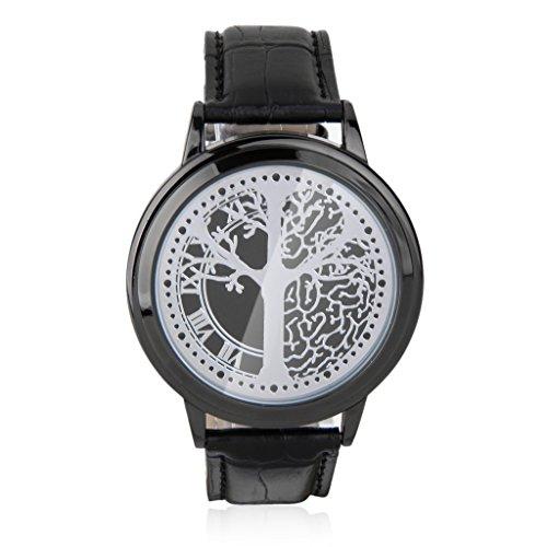 Llevo El Reloj De La Pantalla Tactil Correa De Cuero De La PU Binario Negr