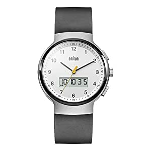 Braun Men's Quartz Watch with White Dial Analogue Digital Display and Black Rubber Strap BN0159WHBKG