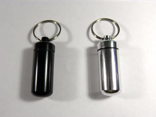 2x schwarz Schlüsselanhänger Pille Halter Medizin Tablet Box Schlüssel Kette Drug Behälter Geld Gürtel (Tabs Gürtel)