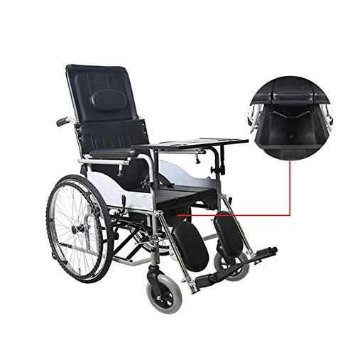 TWL LTD-Wheelchairs Tragbare Leichte Alte Menschen Manuell Rollstuhl Hohe Rückenlehne mit Töpfchen Behinderte Klapprollstuhl Erhöhung Verdickung Esstisch Manual Walker, Ohne Handbremse, Handb