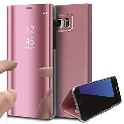 Jinghuash Hülle Kompatibel mit Samsung Galaxy J7 Prime 2016/On7 2016 Spiegel Handyhülle PU Leder Hülle Flip Case Transparent Clear View PC Bumper Standfunktion und Magnetverschluß Lederhülle,Rotgold