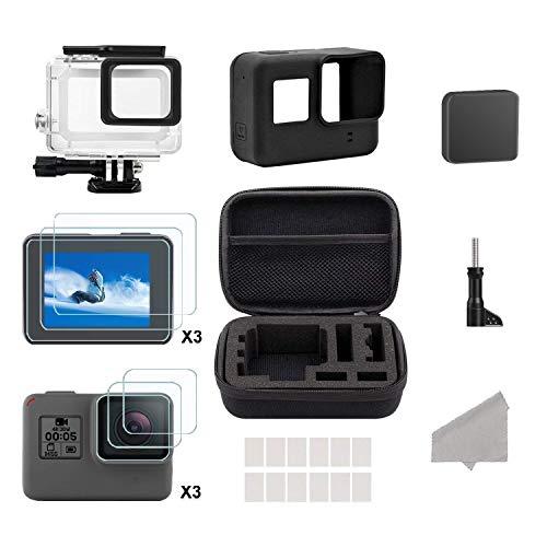HiEHA 24 in 1 Zubehör Kit, Cam Kamera Zubehör Set mit Reisetasche Small/Gehäuse Case/Displayschutzfolie/Objektivdeckel/Silikon Schutzhülle für GoPro Hero (2018) GoPro Hero 6 Hero 5 Action-Kamera - Gehäuse-set