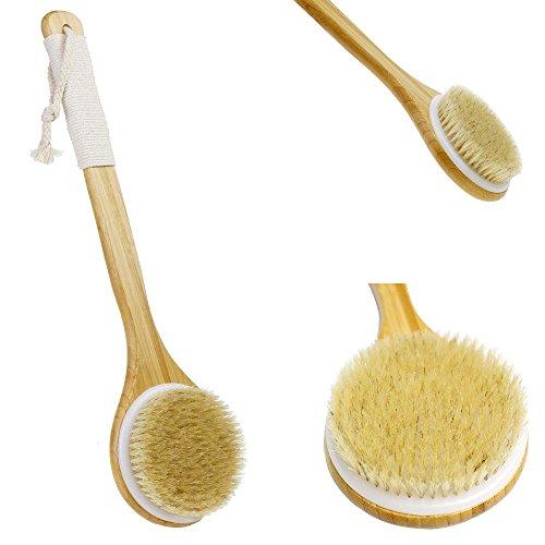 comprare on line JT JUSTIME Spazzola da bagno, Spazzola esfoliante da bagno con setole naturali e lunga maniglia in legno (giallo) prezzo