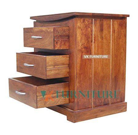 VK Furniture Mango Wood Bedside Table for Bedroom | Wooden Side End Table | 3 Drawer Storage | Walnut Brown Finish